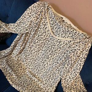 Ann Taylor LOFT Semi Sheer Scoop-neck Cheetah top